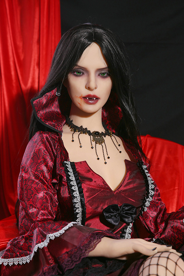 Green Eye Vampire TPE Doll Martina Walpole 158CM Small Breasts Sexy Red Lips-52