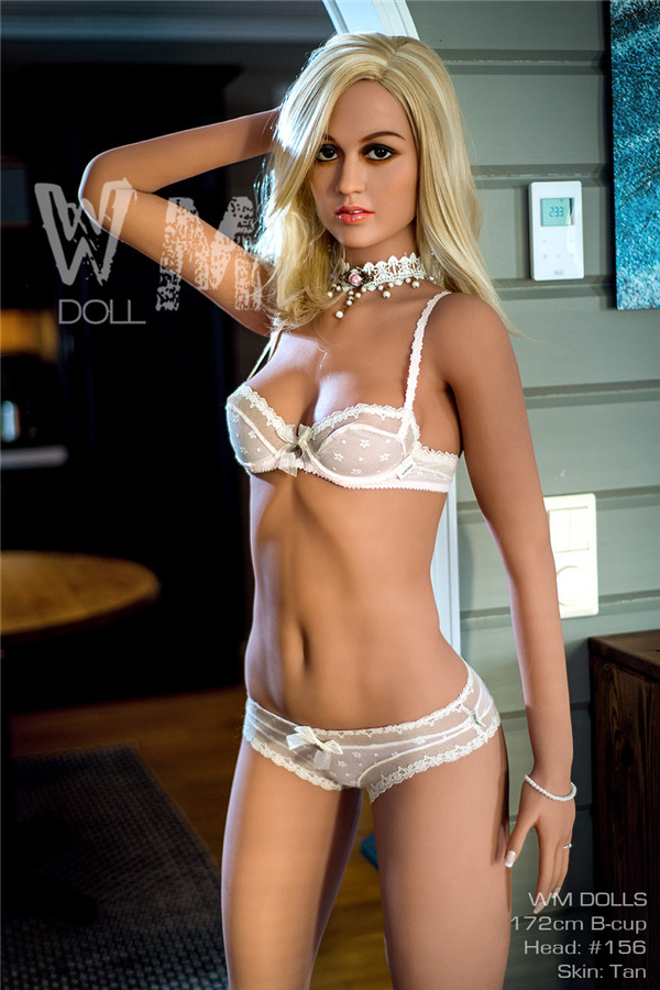 Becher - 172CM B-cup Blonde Beauty WM NO.156 Cabeza Pel branca TPE Sex Doll-23