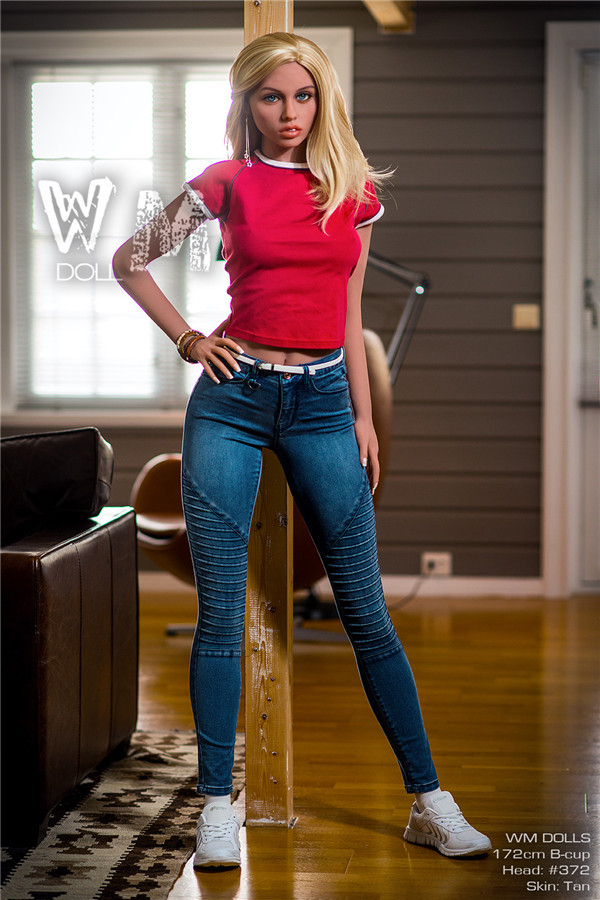 Tobey - 172 CM B-csésze Cowgirl WM NO.372 Head Blue Eyes Barna Bőr TPE Sex Doll-23